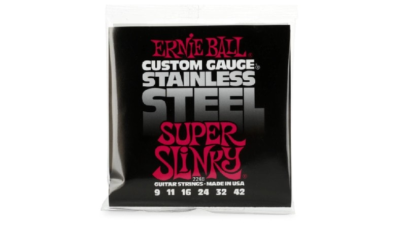 Ernie Ball Stainless Steel Super Slinky - best long life guitar strings