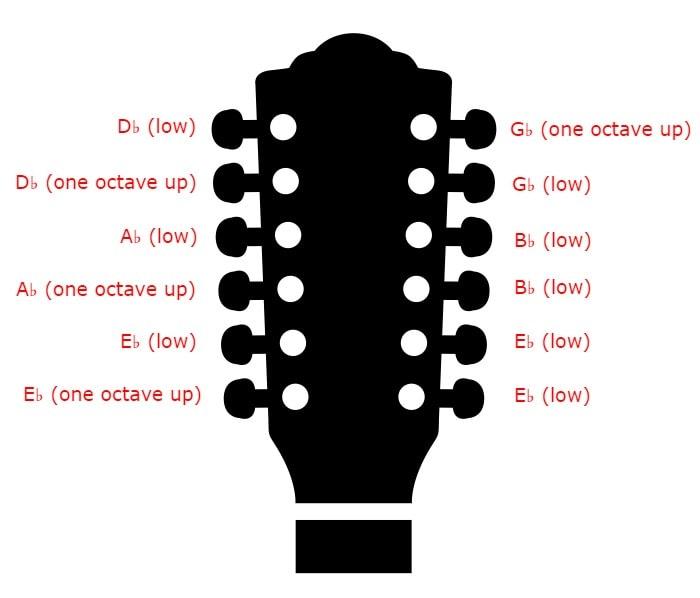 12 string Tuning - Semitone Drop
